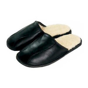 Leather-Sheep-Wool-Fluffy-Black-Mens-Men-slippers-mules-plus-size-7-8-9-10-11-12