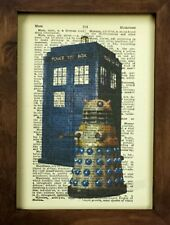 Vintage Dictionary Art Print, Doctor Who Tardis and Dalek, Dr Who Dalek