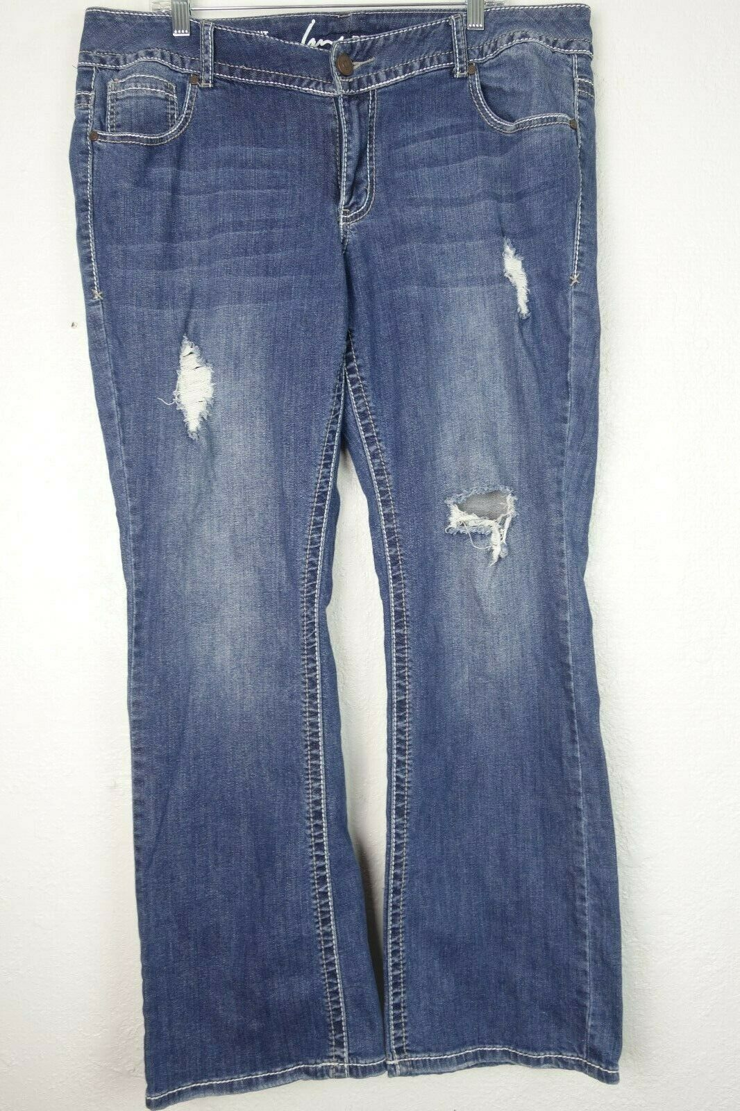 Lane Bryant Jeans bluee Denim DIstressed Holes Boot Cut Women's Plus Size 18