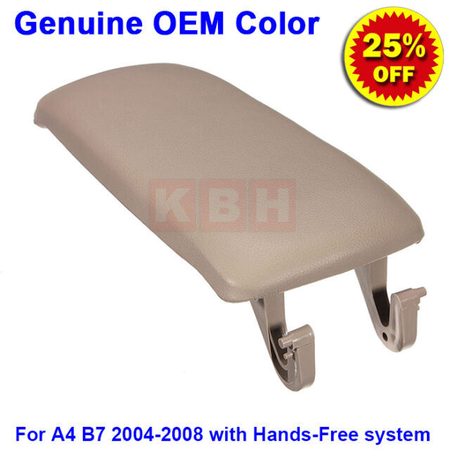 Leather Armrest Center Box Console Lid Cover for 2004-2008 Audi A4 B7 Beige hf