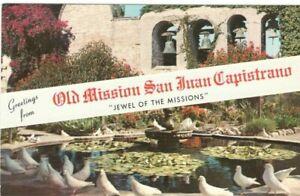 Greetings-from-Old-Mission-San-Juan-Capistrano-Vintage-Unused-Postcard-SL1