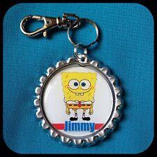 Personalized SPONGEBOB Bottle Cap Pendant Name Zipper Pull Key Ring Necklace