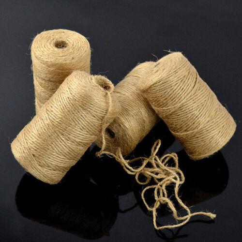 LK/_ 100M 2mm Natural Brown Jute Hessian Burlap Rustic Twine Sisal String Cord