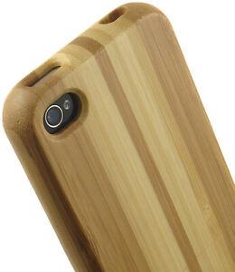 Détails sur Neuf Limité de Luxe Rayé Bois Bambou Naturel Étui Rigide Pour Apple IPHONE 4S 4