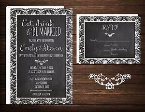 Wedding Invitations Rsvp Cards 50 Eat Drink Be Married Damask