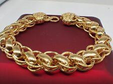 Bracelet à chaîne gourmette en or jaune 18 carats et diamants