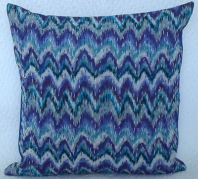 """16"""" INDIAN CUSHION BLUE PILLOW COVERS Ethnic Kantha Thread Work Vintage Decor"""