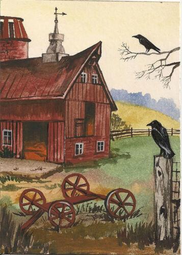 ACEO PRINT OF PAINTING CROW RYTA BARN FARM LANDSCAPE RAVEN FOLK HALLOWEEN ART