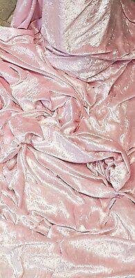 1m dusķy BABY PINK   ICE CRUSH VELVET  STRECH FABRIC  581NCHES