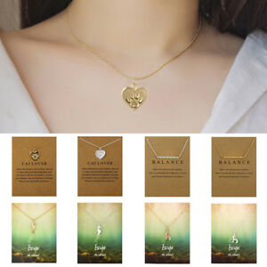 Fashion-Women-Choker-Pendant-Chain-Necklace-Card-Gold-Clavicle-Jewelry-Gift