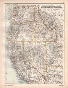 Utah And Idaho Map.1900 Large Map California Nevada Oregon Washington Idaho Utah