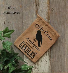 "Primitive Olde Crow Keeping Bag w/ Jute Drawstring -- 4"" x 6"""