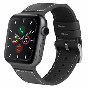Band for Apple Watch 42/44mm Leather & Silicone For iWatch 5 4 3 2 1 Black Strap