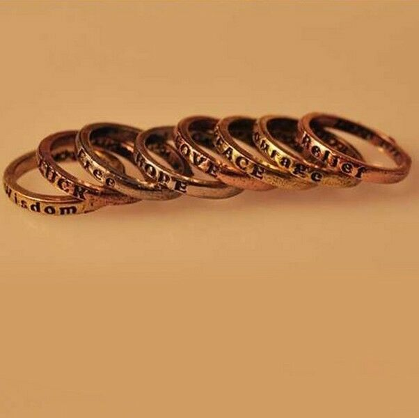 *new* 8pcs Set Vintage Stylish Mixed Charms Rings