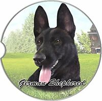 German Shepherd Car Coaster Absorbent Keep Cup Holder Dry Stoneware Black Dogs