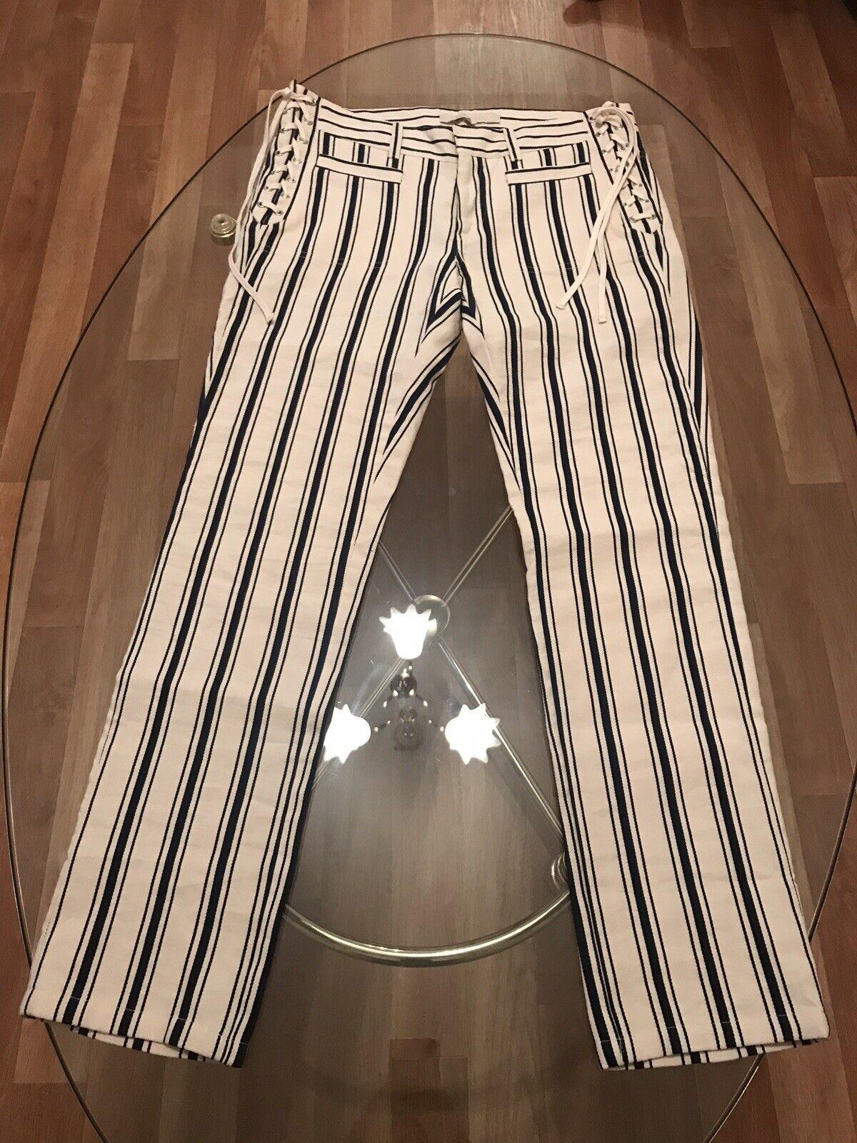 VANESSA BRUNO  Hose Luxus Couture Gr. M 36 38 Streifen Baumwolle neu