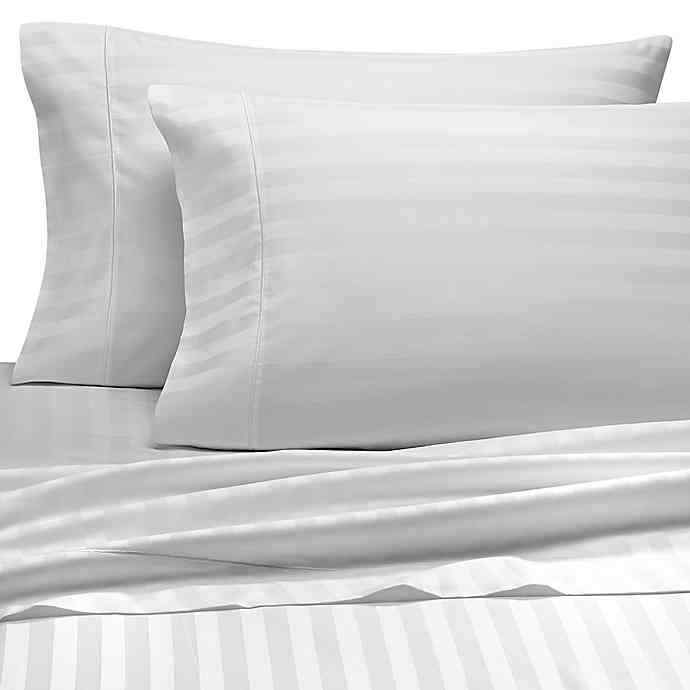 Wamsutta 500-Thread-Count PimaCott Full Sheet Set Stripe blanc