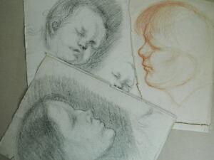 Lotto-1901-Schizzi-Originale-Disegno-a-Matita-Sangue-Ritratto-di-Profilo-Bambino