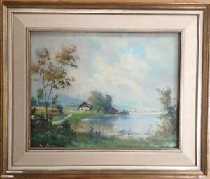 Chiemgau-Oil-Painting-Impressionist-Oil-Painting-Antique-Landscape-Signed-Frame