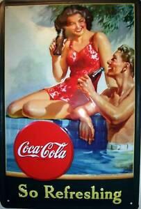 Coca-Cola-Flirt-Panneau-de-Tole-Metal-Etain-Signer-20-X-30-CM