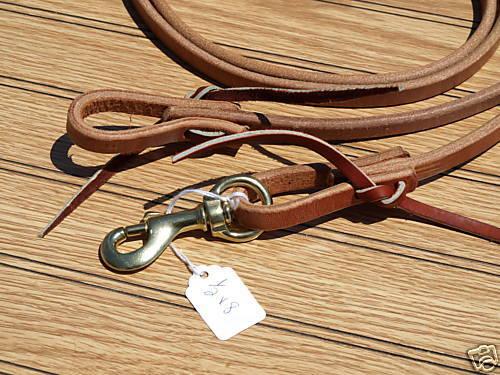 "Western harness leather 5//8/""x 8 roper rein w//snap USA custom cowboy quality H508"