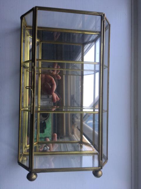Vintage Glass & Brass Mirrored Display Cabinet Vitrine Miniatures & Curiosities