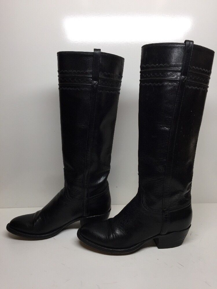 #G Damenschuhe UNBRANDED RIDING LEATHER BLACK BOOTS SIZE 6.5 B