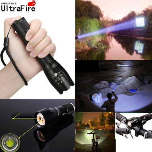 UK Tactical Police 50000LM Power T6 LED Flashlight Zoomable Torch+18650+Charger