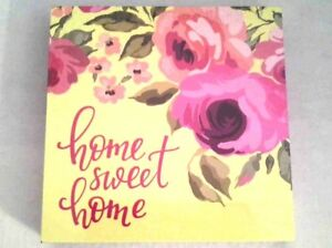 Home Sweet Home Sign Wood Wall Decor Inspirational Quotes Floral