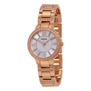 5e5a055623ee Image is loading Fossil-Virginia-Silver-Dial-Rose-Gold-tone-Ladies-