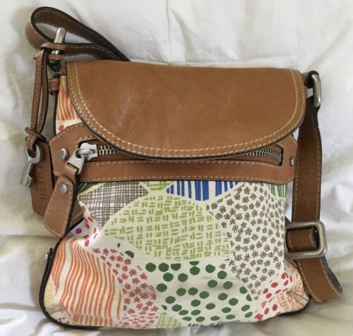 FOSSIL Multi-Colorful Canvas & Tan Leather Crossbo