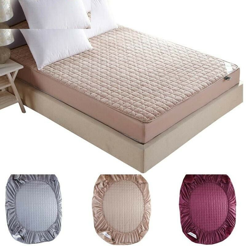 Fleece Mattress Protector Folding Fitted Polyester Bed Protection Sheet Cover