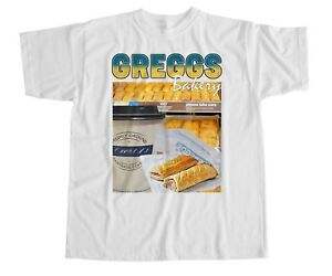 33c388a29d Greggs Homage T Shirt Sausage Roll Coffee Bakery Funny Tribute Icon ...