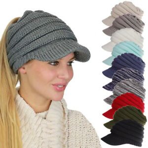 386afb71cd3 Women s Woolen Baseball Cap Messy Bun Ponytail Beanie Winter Warm ...
