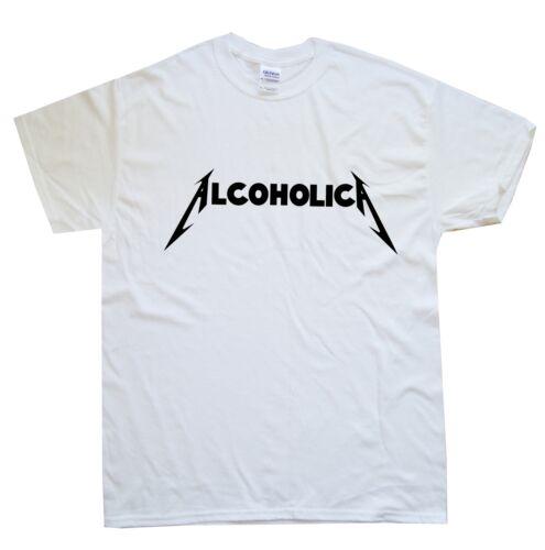 ALCOHOLICA new T-SHIRT sizes S M L XL XXL colours black white