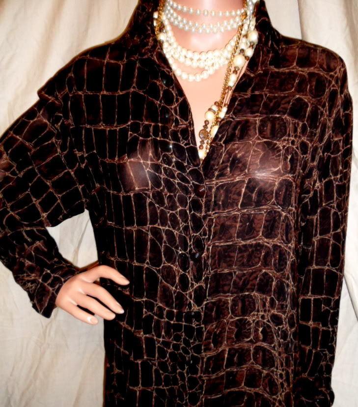 Sexy Sultry Luxurious Designer Top 10P Dana Buchman  Animal  WOWEEE L@@K
