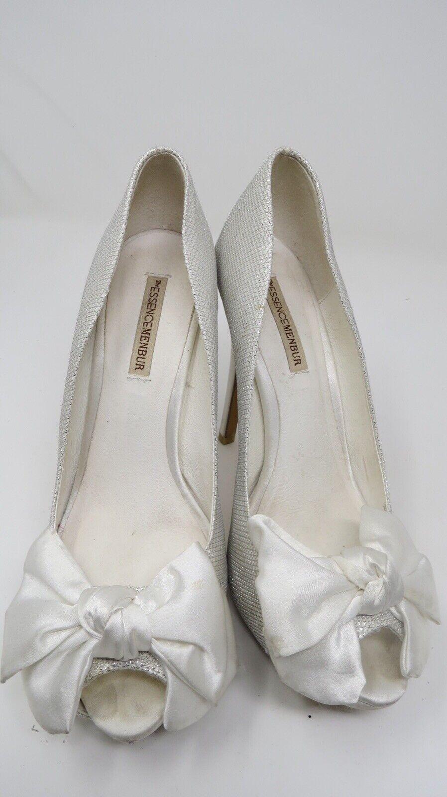 THE ESSENCEMENBUR  White color Glitter Now High Heel Open Toe Women Size  38