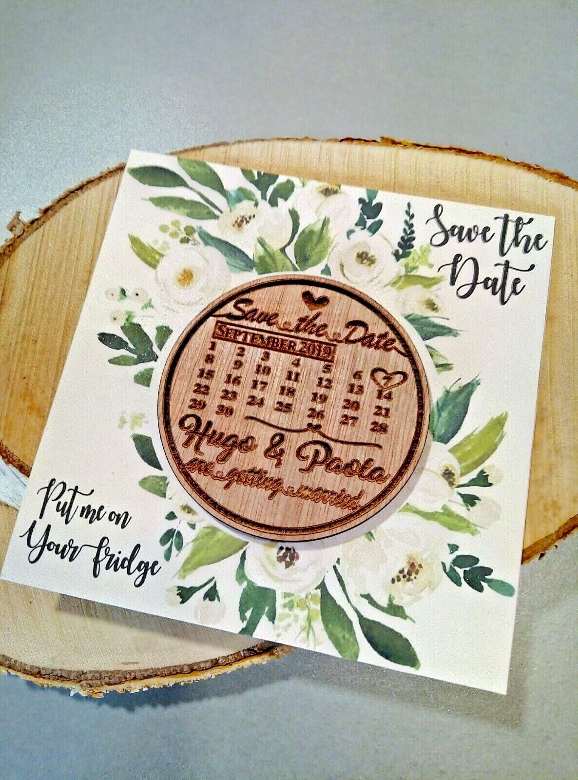 Wooden Save The Date Calendar Fridge Magnet with Printed Card and Envelope