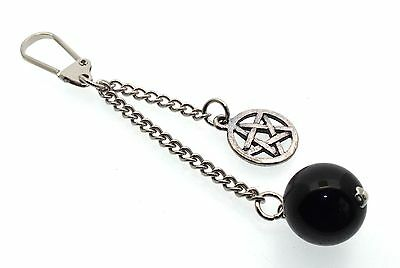 Black Tourmaline With Pentacle Witches Protective Key Ring
