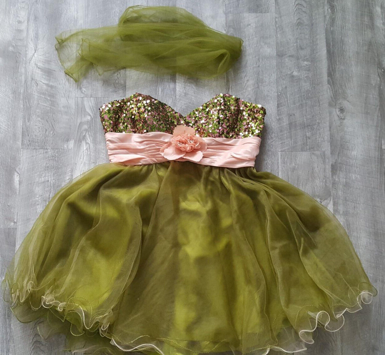 New Night Scene Strapless Prom Dress Größe 2XLarge Tulle Mini Sequin Formal