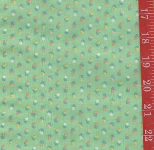 "Vintage GREEN Retro deco tiny floral Cotton FABRIC 44""W By 1/2 Yard doll clothes"