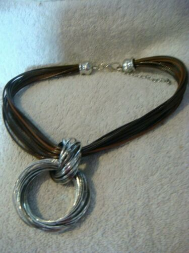 fashion multi standed necklace in brown and silver