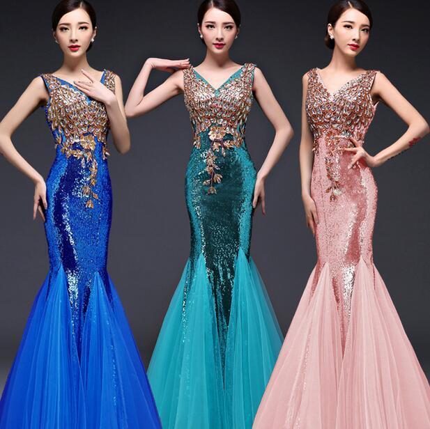 damen Sequins Double Shoulder Full Length Party Dress Slim Fit Fishtail Gown