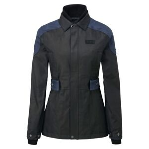 Knox-Ladies-Lea-Black-Blue-Wax-Cotton-Motorcycle-Jacket-NEW-RRP-229-99