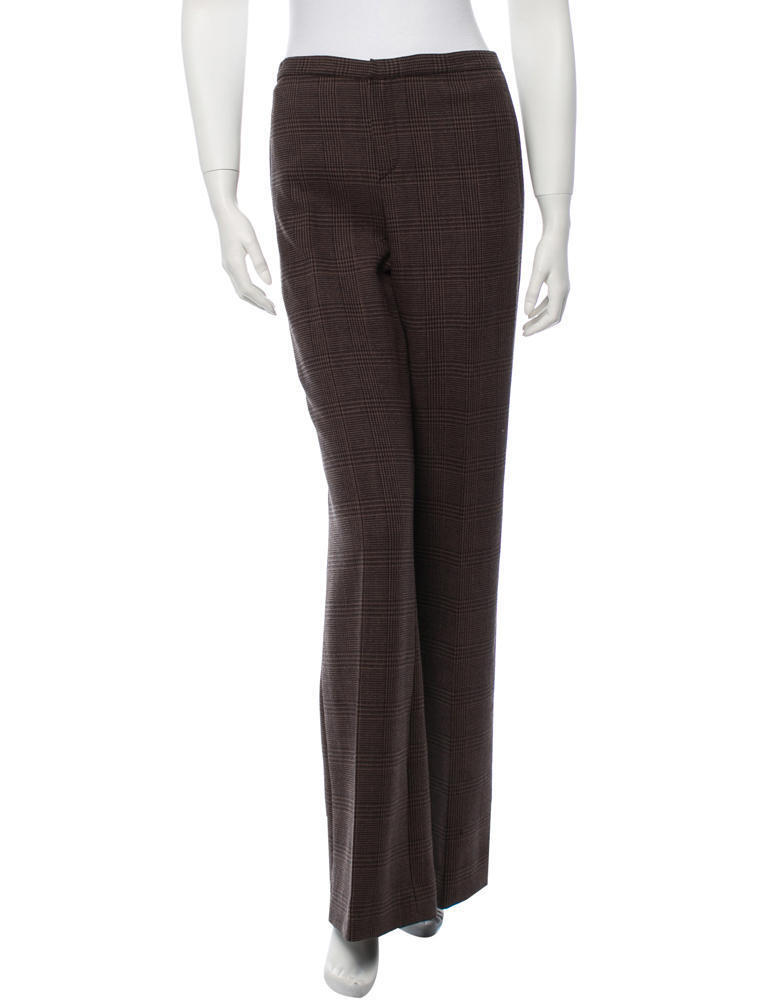 GORGEOUS NEW ,095 JEAN PAUL GAULTIER BROWN PLAID, FLARED LEGS WOOL PANTS (NWT)