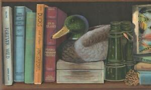 Wallpaper-Border-Sportsman-Fly-Fishing-Mens-Study-Library-Books-Duck-on-Black