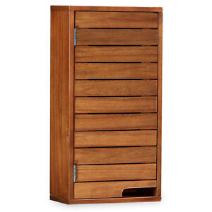 Victoria Acacia Bathroom Wall Cabinet / Solid Dark Wood ...