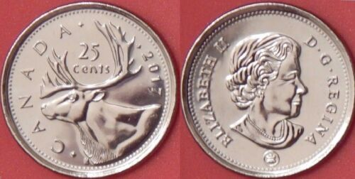 Brilliant Uncirculated 2017 Canada 25 Cents From Mint/'s Roll