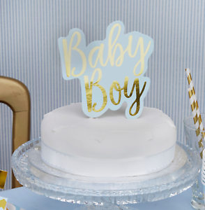 Details about BLUE BABY BOY CAKE TOPPER , BLUE AND GOLD , BABY SHOWER CAKE  DECORATION