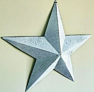 Primitive-Country-Home-Decor-Tin-Barn-Star-White-Wash-12-or-18-inches-wall